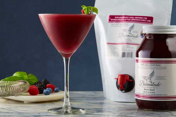 barmalade berry-basil cocktail with pouch