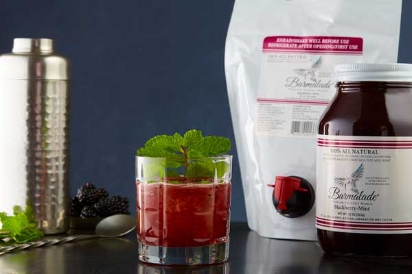 barmalade blackberry-mint cocktail with pouch