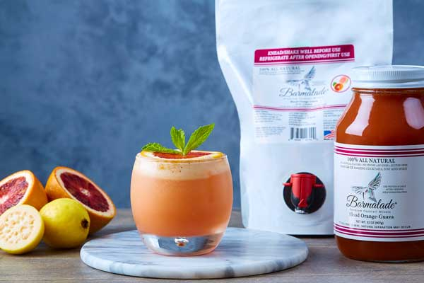 barmalade blood orange-guava cocktail with pouch