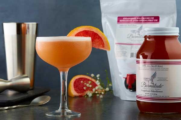 barmalade grapefruit-elderflower cocktail with pouch